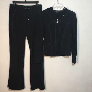 BCBGMAXAZRIA Black Embellished Sweat Suit Sz. M